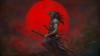 фэнтези, демоны, существо, меч, череп