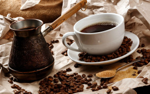еда, кофе,  кофейные зёрна, джезва, сахар, зерна