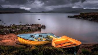 корабли, лодки,  шлюпки, тучи, озеро