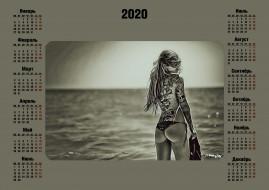 calendar, узор, тату, море, водоем, девушка, 2020