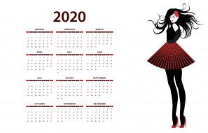 calendar, фон, девушка, белый, изолированный, цветок, 2020