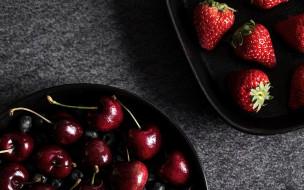 еда, фрукты,  ягоды, черешня, черника, клубника