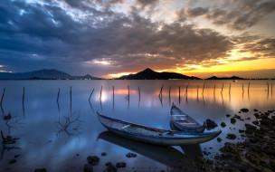 корабли, лодки,  шлюпки, закат, горы