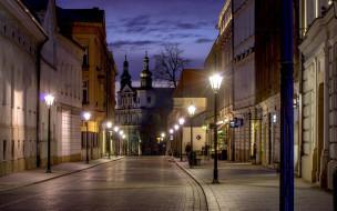города, краков , польша, фонари, вечер, улица