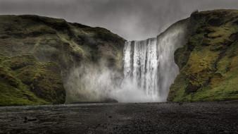 обои для рабочего стола 1920x1080 природа, водопады, исландия, водопад, скоугафосс