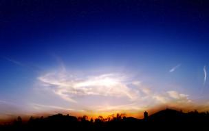 небо, звезды, облака, заря