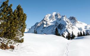 природа, горы, сугробы, зима, снег