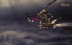 фэнтези, роботы,  киборги,  механизмы, небо, карты, робот, механизм, шляпа, тучи, полет