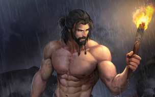 фэнтези, люди, дождь, факел, мужчина, волк