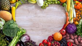 еда, фрукты и овощи вместе, капуста, кукуруза, морковь, виноград, дыня