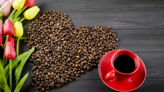 еда, кофе,  кофейные зёрна, тюльпаны, зерна, цветы