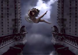 2020, calendar, падение, девушка, крылья
