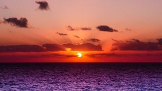 облака, море, закат, красота