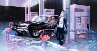 аниме, оружие,  техника,  технологии, девушка