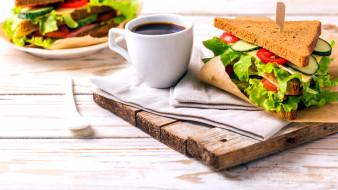 еда, бутерброды,  гамбургеры,  канапе, кофе, сэндвич