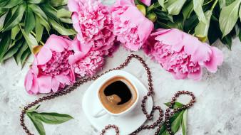 еда, кофе,  кофейные зёрна, хризантемы, кексы