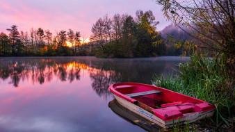 корабли, лодки,  шлюпки, река, вечер, лодка, туман