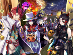 аниме, магия,  колдовство,  halloween, ёкай