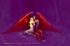 девушка, мужчина, calendar, 2020, крылья, ангел