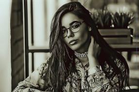 девушка, calendar, очки, взгляд, 2020, женщина