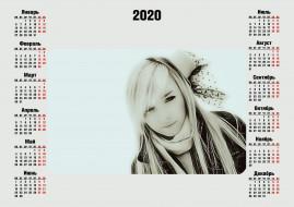 лицо, женщина, calendar, 2020, взгляд, девушка