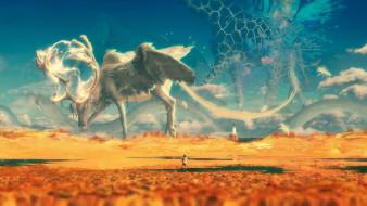 фэнтези, существа, фон, ребенок, олень, маяк, пустыня