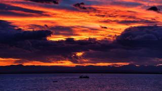 закат, корабль, море, облака, небо