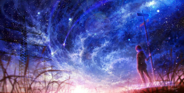 фэнтези, люди, столб, парень, вышки, провода, небо, космос