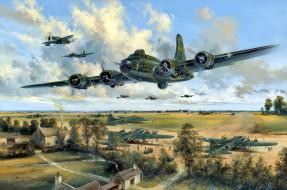 обои для рабочего стола 2679x1774 авиация, 3д, рисованые, v-graphic, p-47, thunderbolt, b-17, истребитель, бомбардировщик, деревья