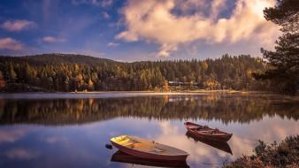 корабли, лодки,  шлюпки, озеро, отражение