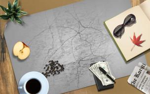 разное, компьютерный дизайн, деньги, кофе, очки, яблоко, карта, растение