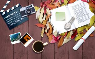 разное, компьютерный дизайн, листья, часы, чашка, фотографии, фотоаппарат