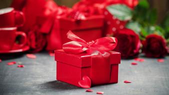 праздничные, подарки и коробочки, алый, бант, подарок, лента