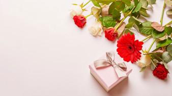 праздничные, подарки и коробочки, подарок, гербера, лента, бант, бутоны, розы