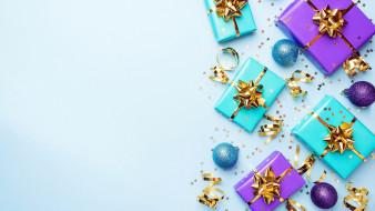 праздничные, подарки и коробочки, серпантин, шарики, подарки