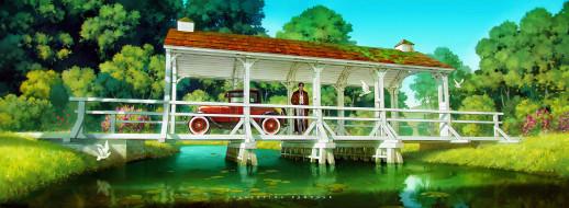 мост, человек, река, деревья, машина
