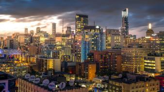 города, торонто , канада, здания, спутниковая, антенна, торонто