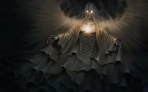 фэнтези, демоны, крылья, взгляд, фон, существо