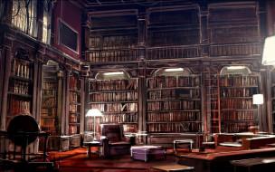 интерьер, - другое, полки, книги, кресло