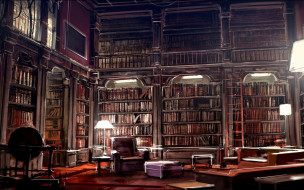 кресло, книги, полки