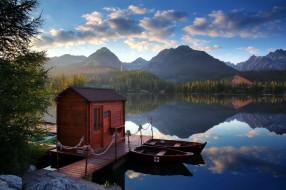 корабли, лодки,  шлюпки, озеро, горы, мостки