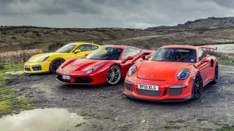 Ferrari 488 GTB, Porsche Cayman GT4, Porsche GT3 RS