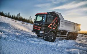 2020 scania g500 xt, автомобили, scania, грузовик, зима, 4k, g500, xt, самосвал, lkw, грузовой, транспорт