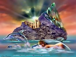 девушка, дельфин, остров, здание, calendar, 2020