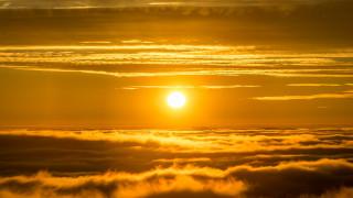 облака, небо, солнце