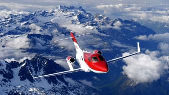 частный самолет, горы, небо, гражданская авиация