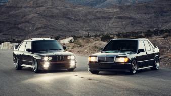 автомобили, разные вместе, bmw, m3, mercedes-benz, 190e