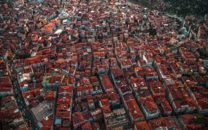 города, стамбул , турция, городской, вид, стамбул, крыши, домов, с, высоты, птичьего, полета