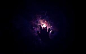 космос, арт, планеты, рука, туманность