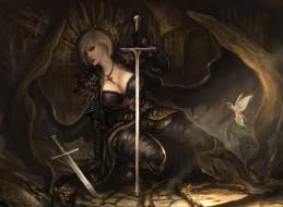 видео игры, lineage ii, меч, крылья, взгляд, фон, девушка